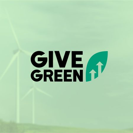 The cover photo for GiveGreen features their logo on a heavily green tinted background