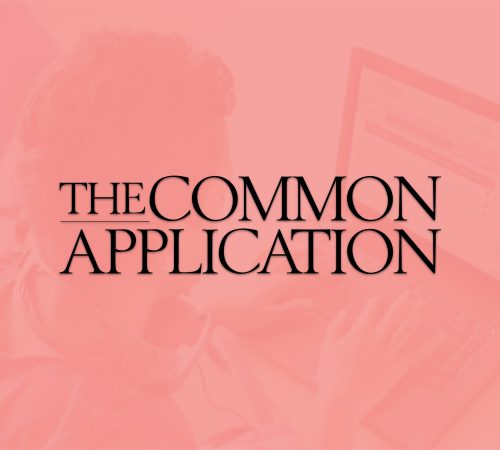 The cover photo for the Common Application features their logo on a heavily pink tinted background