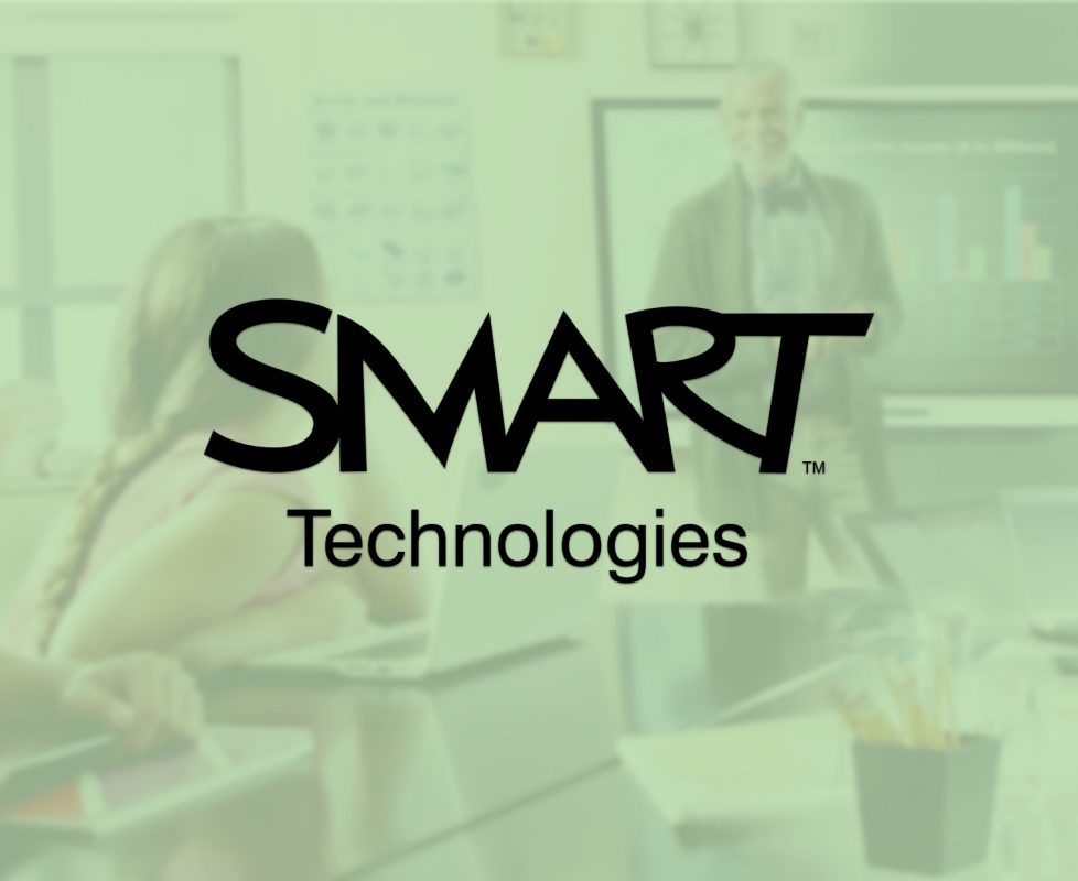 The cover photo for Smart Technologies has their logo on top of a heavily green tinted background