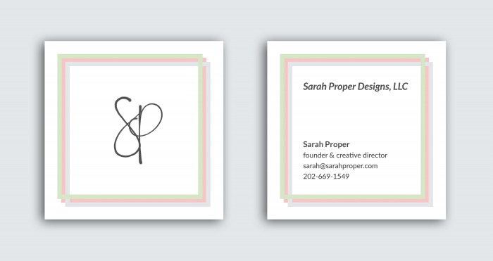Sarah Proper Designs LLC Business Cards