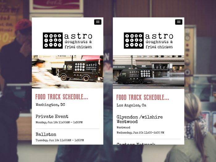 Astro doughnuts food truck schedule page shown on two screens