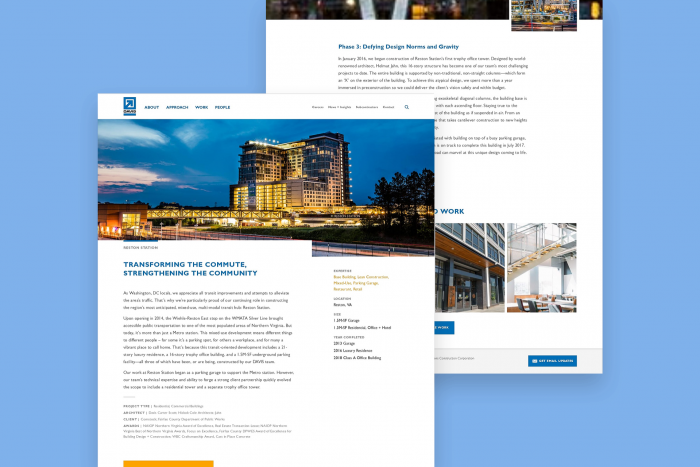 A case study page from Davis Construction's website is split in two stacked on each other