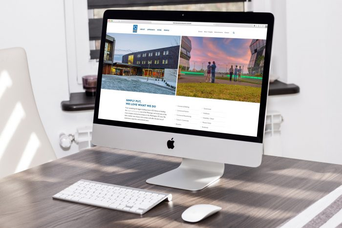Davis Construction's Approach page shown on a large desktop computer