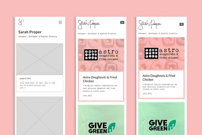 3 screens: Wireframe, Design, & Live progression of the Sarah Proper Designs LLC website