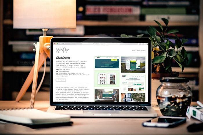 The GiveGreen portfolio page is shown on a laptop on a desk, surrounded by a lamp, plant and other misc desk items