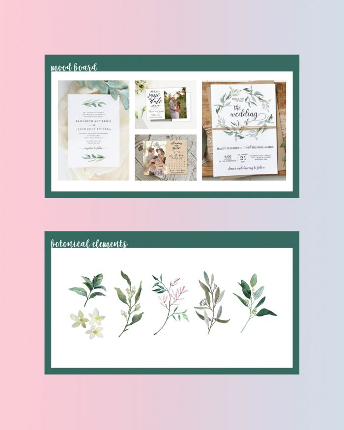 Card Mood Board and Floral Icon Inspiration